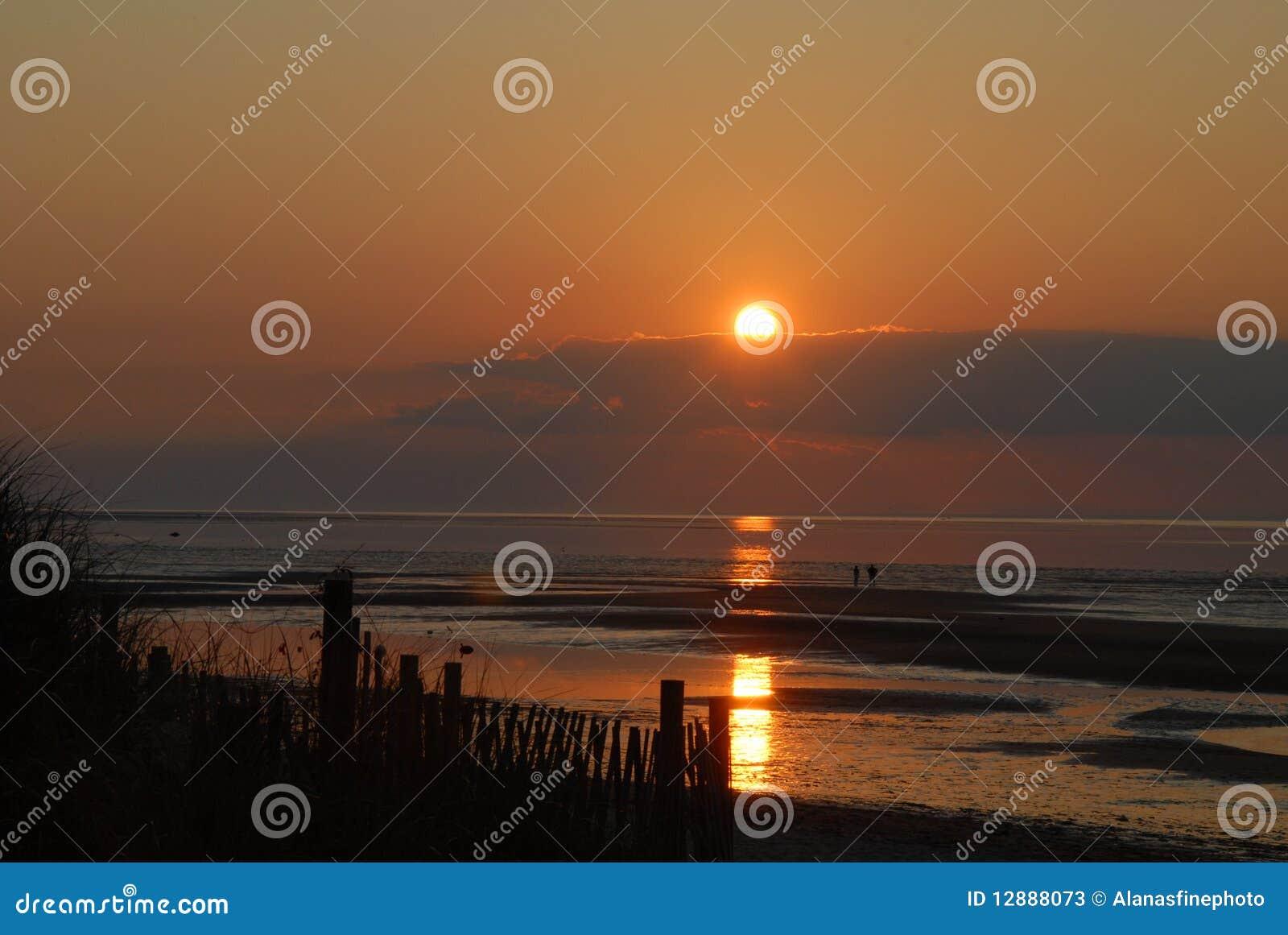 Puesta del sol del bacalao de cabo