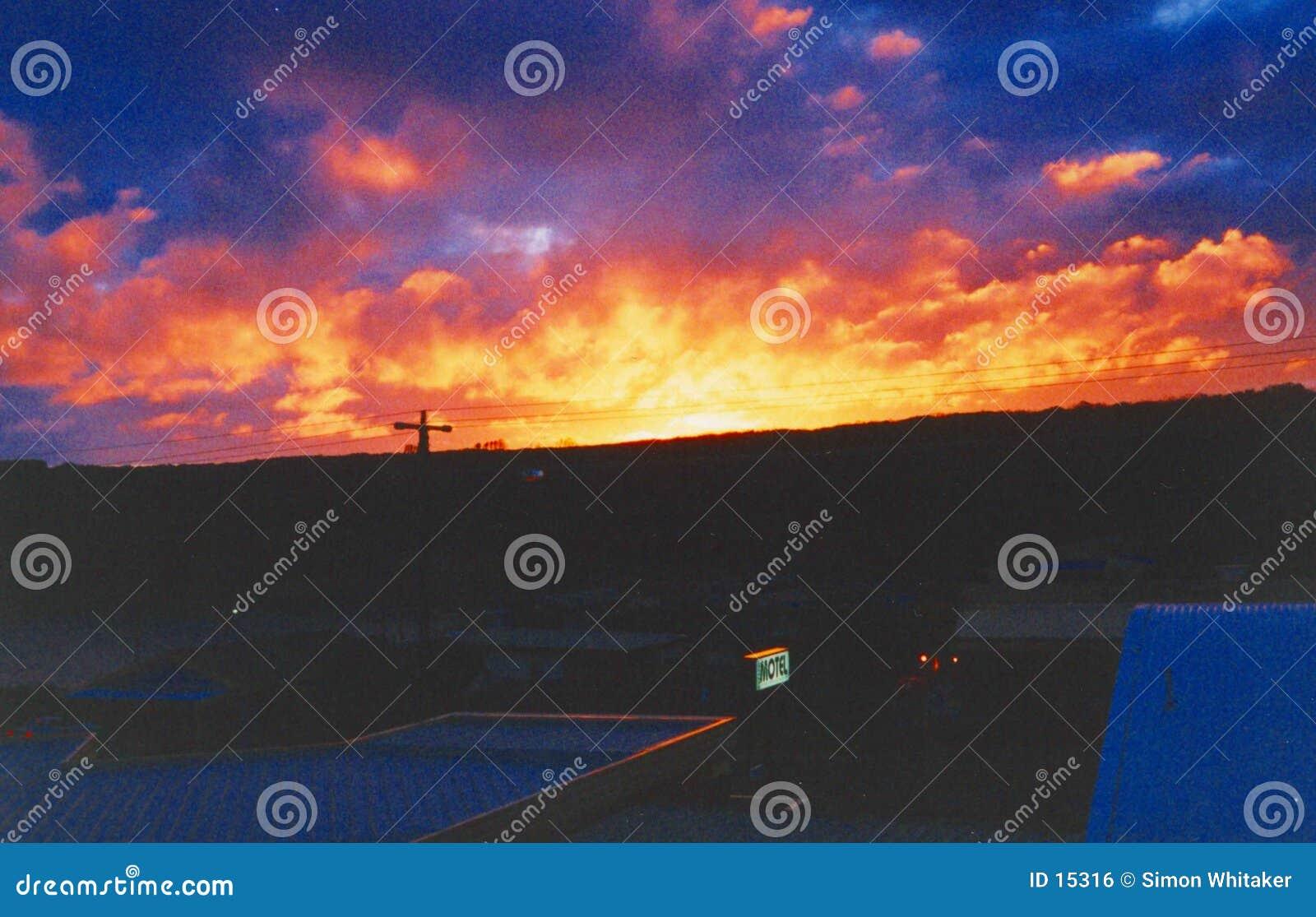 Puesta del sol del motel