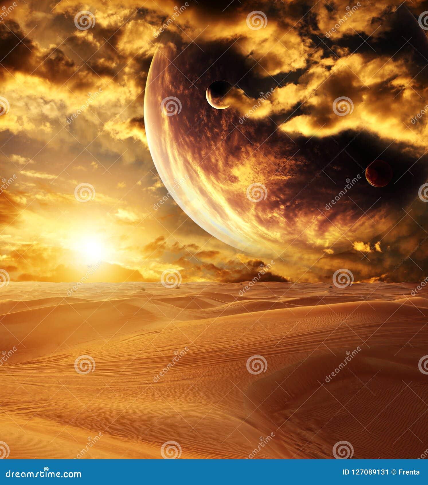 Puesta del sol en desierto