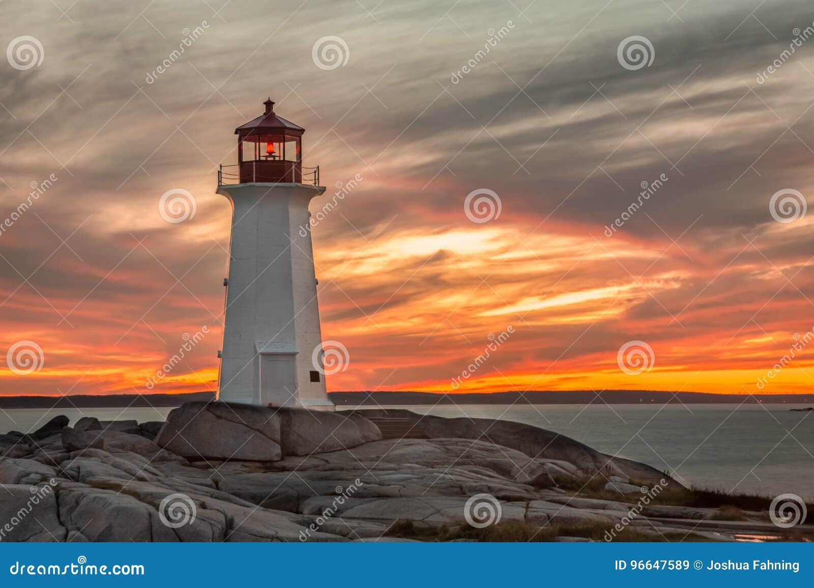 Puesta del sol en el faro en la ensenada del ` s de Peggy cerca de Halifax, Nova Scot