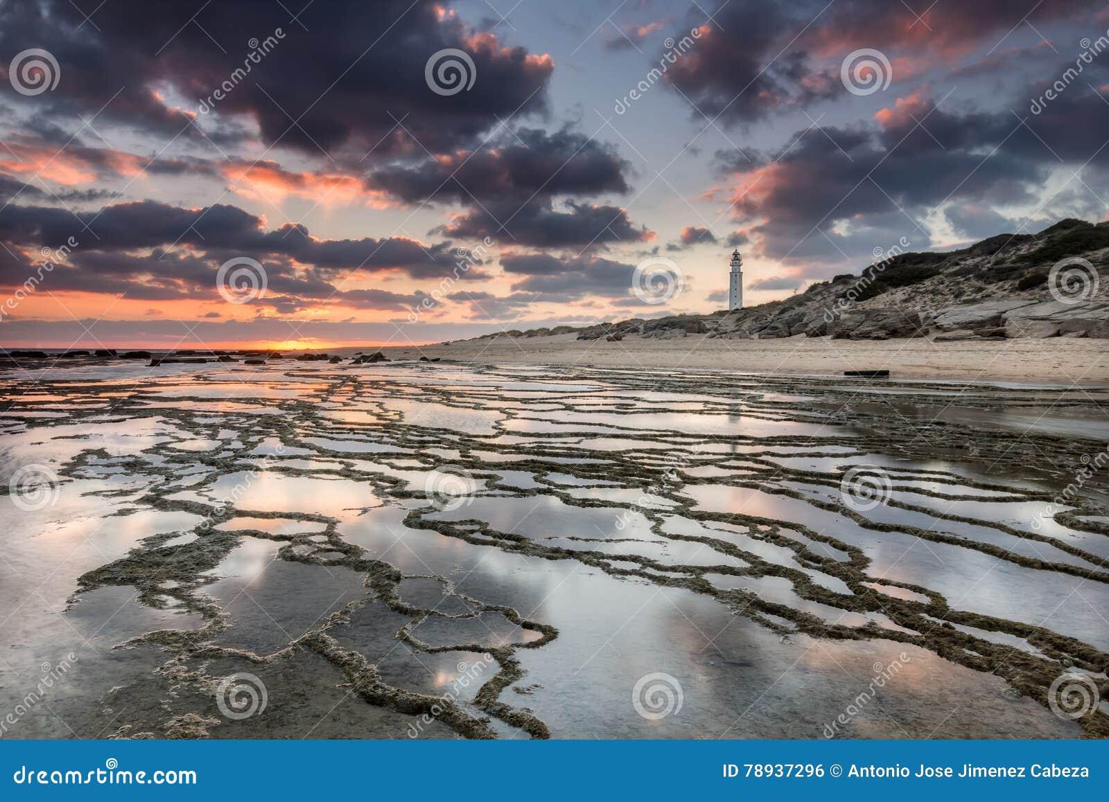 Puesta del sol en la playa de Trafalgar, faro próximo