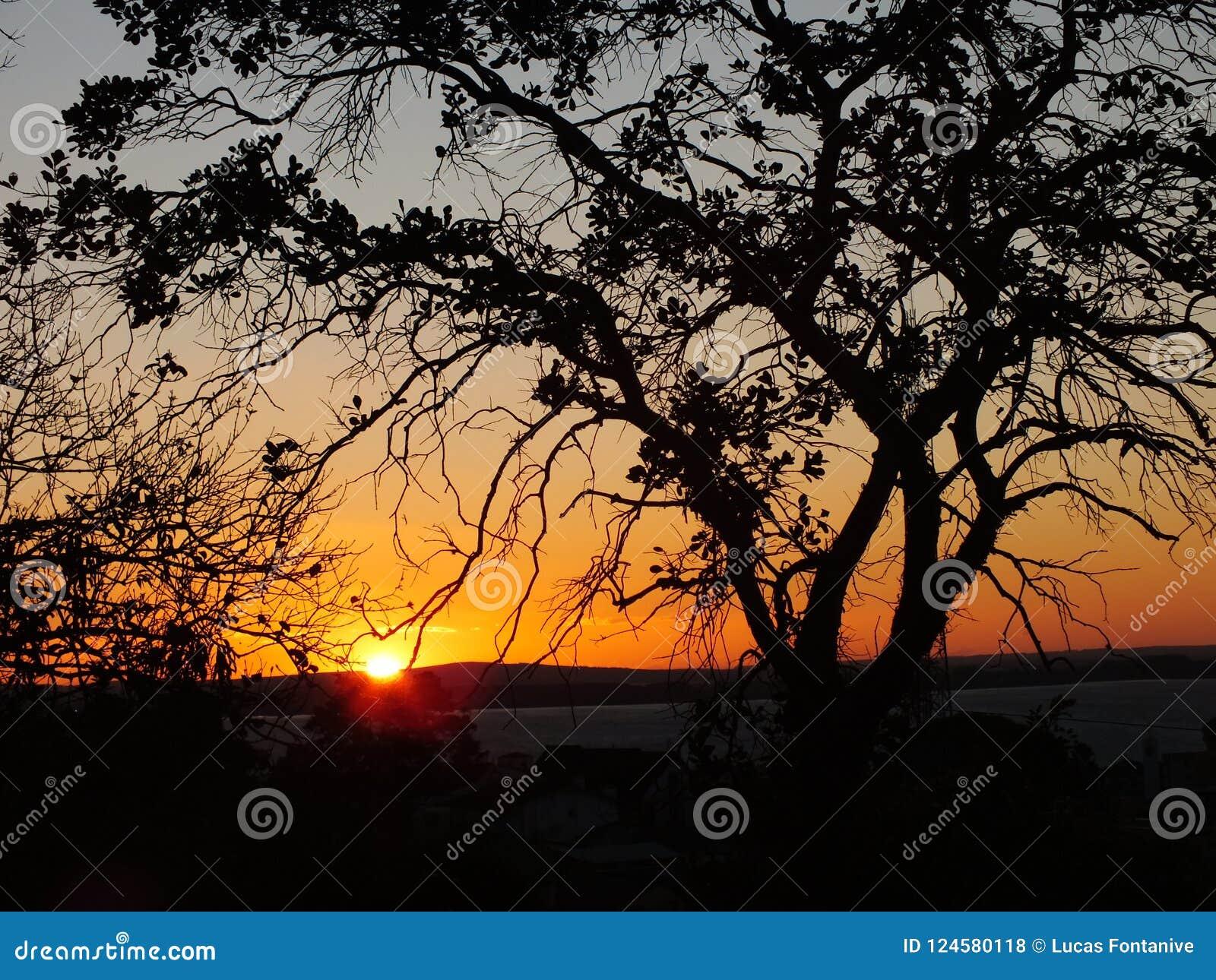 Puesta del sol en Porto Alegre, el Brasil