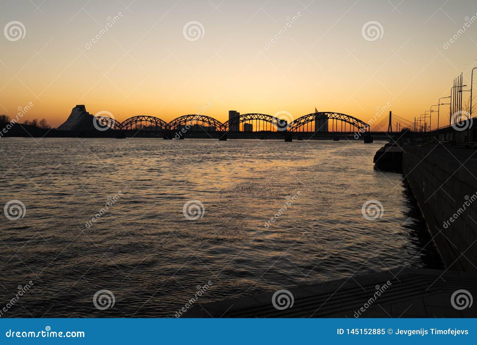 Puesta del sol en Riga con una visión sobre el Daugava y los puentes centrales - 2019 del vagabundo