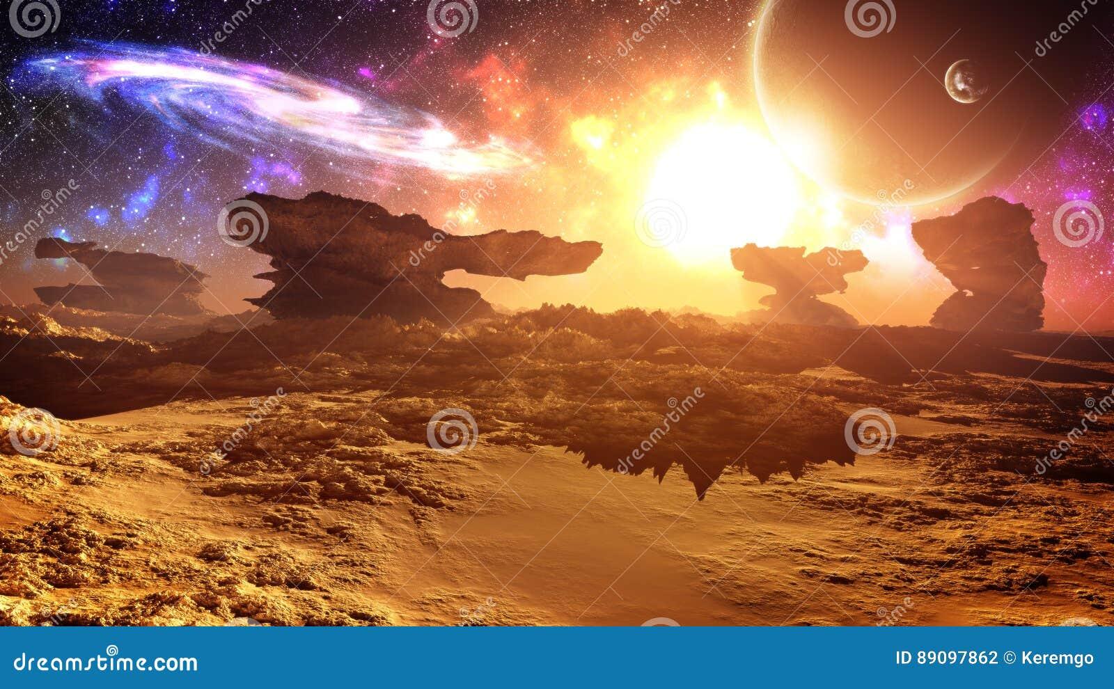 Puesta del sol extranjera gloriosa épica del planeta con la galaxia