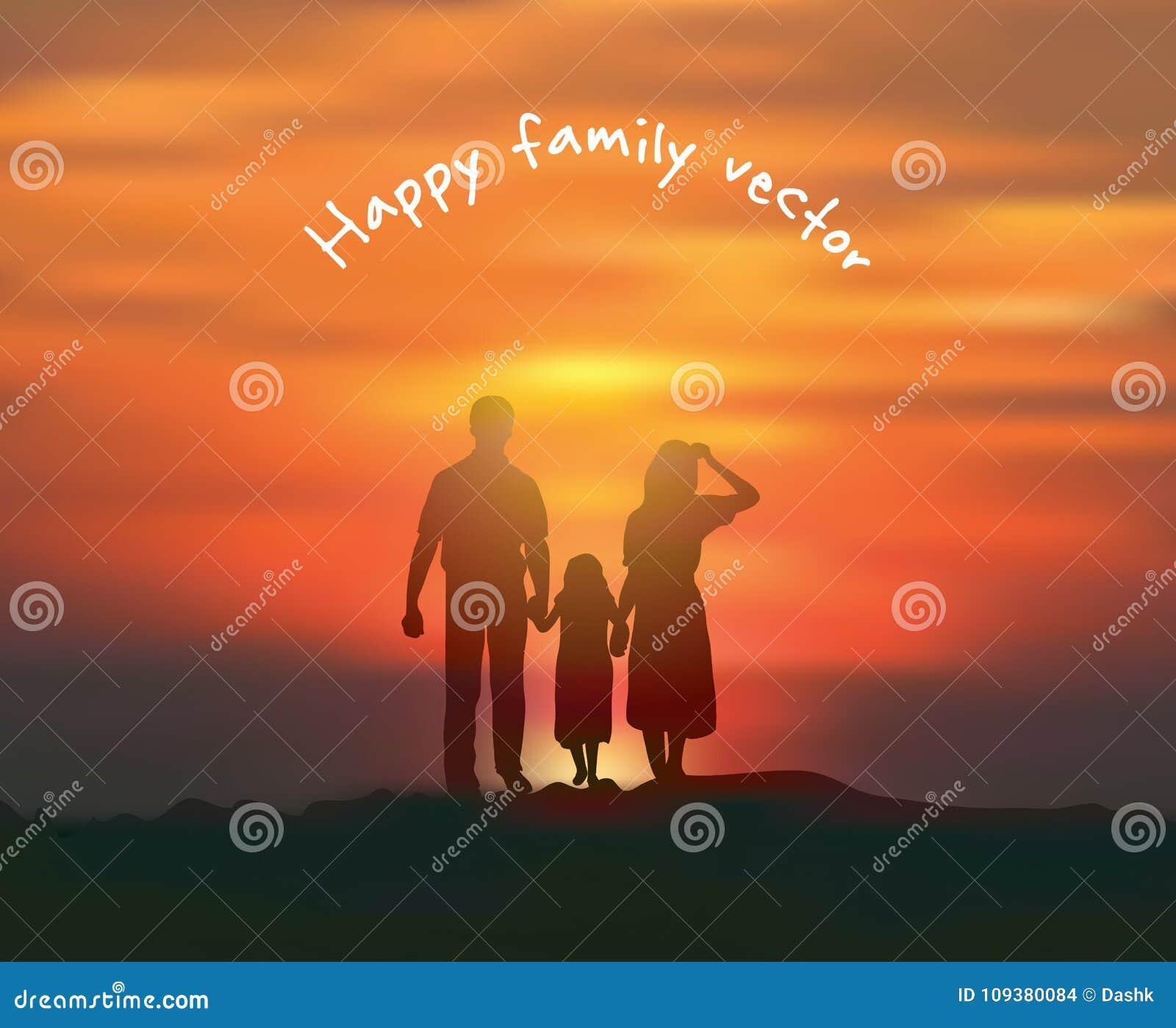 Puesta del sol feliz del sol y del cielo de la familia de la silueta