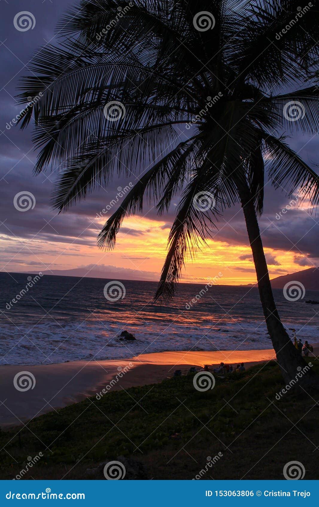 Puesta del sol hawaiana magnífica en Maui
