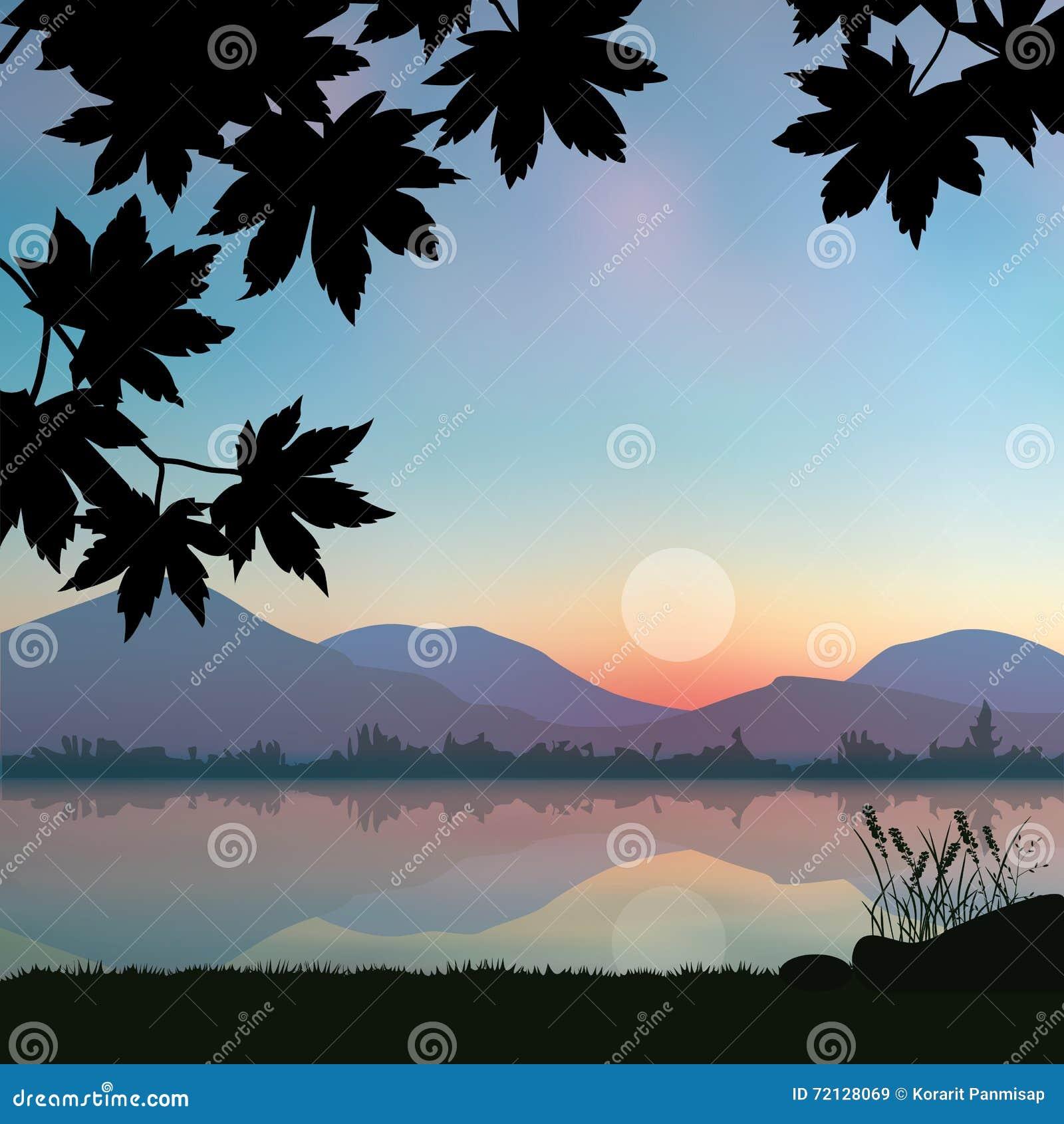 Puesta del sol hermosa, paisaje de los ejemplos del vector