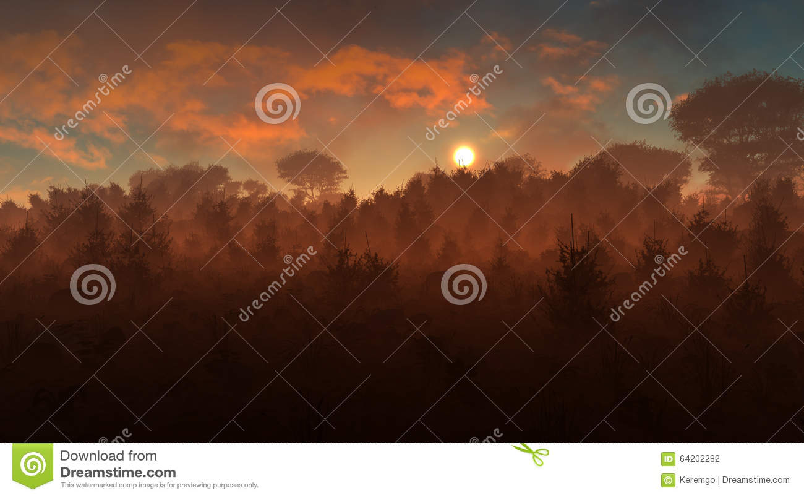 Puesta del sol misteriosa del paisaje
