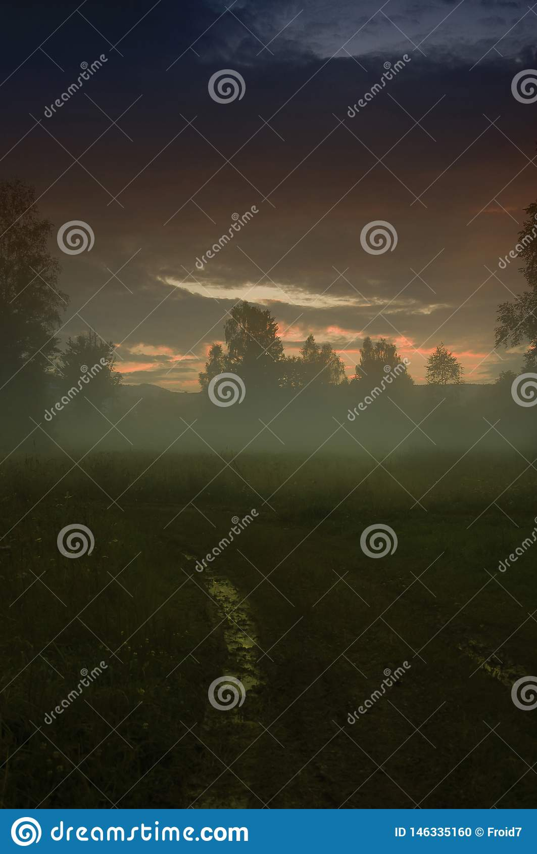 Puesta del sol Pantano Igualación de paisaje místico del horror de la niebla/de la niebla