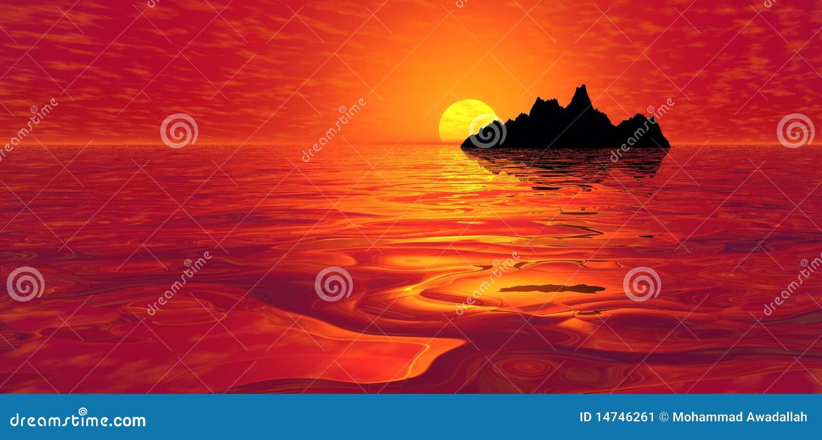 Puesta del sol roja del océano sobre la isla