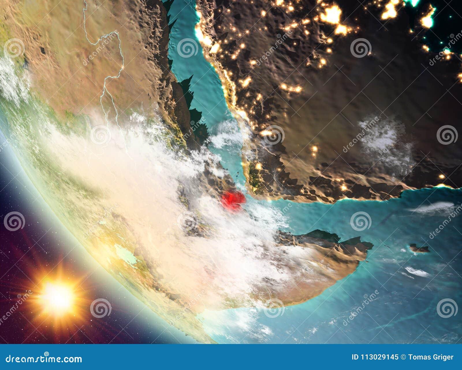 Puesta del sol sobre Djibouti en la tierra