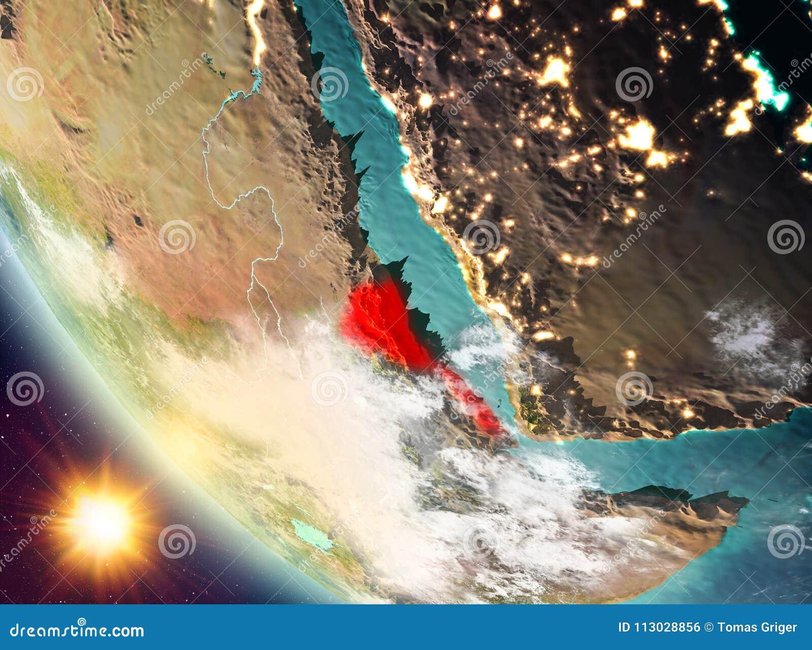 Puesta del sol sobre Eritrea en la tierra