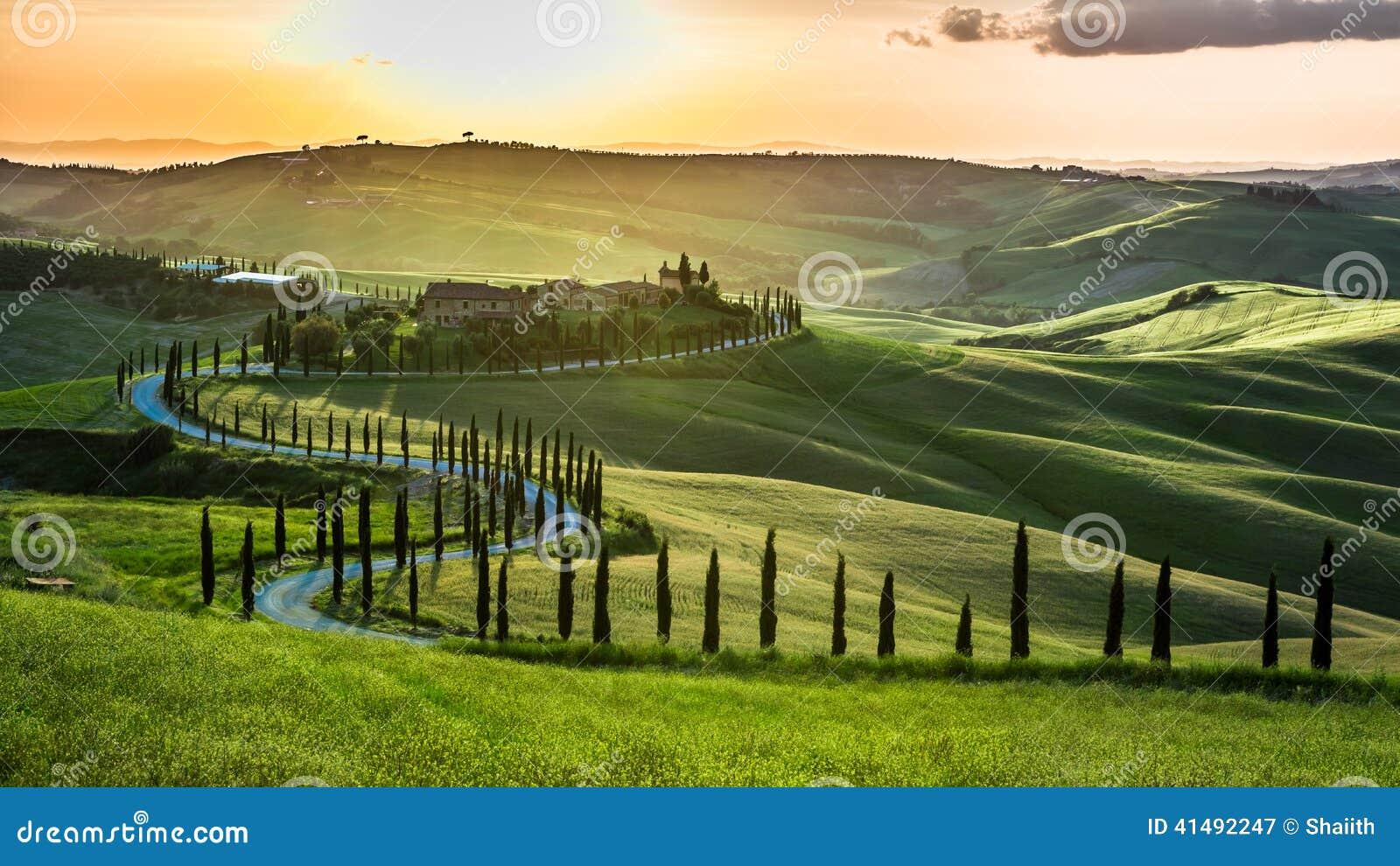 Puesta del sol sobre la carretera con curvas con los cipreses en Toscana