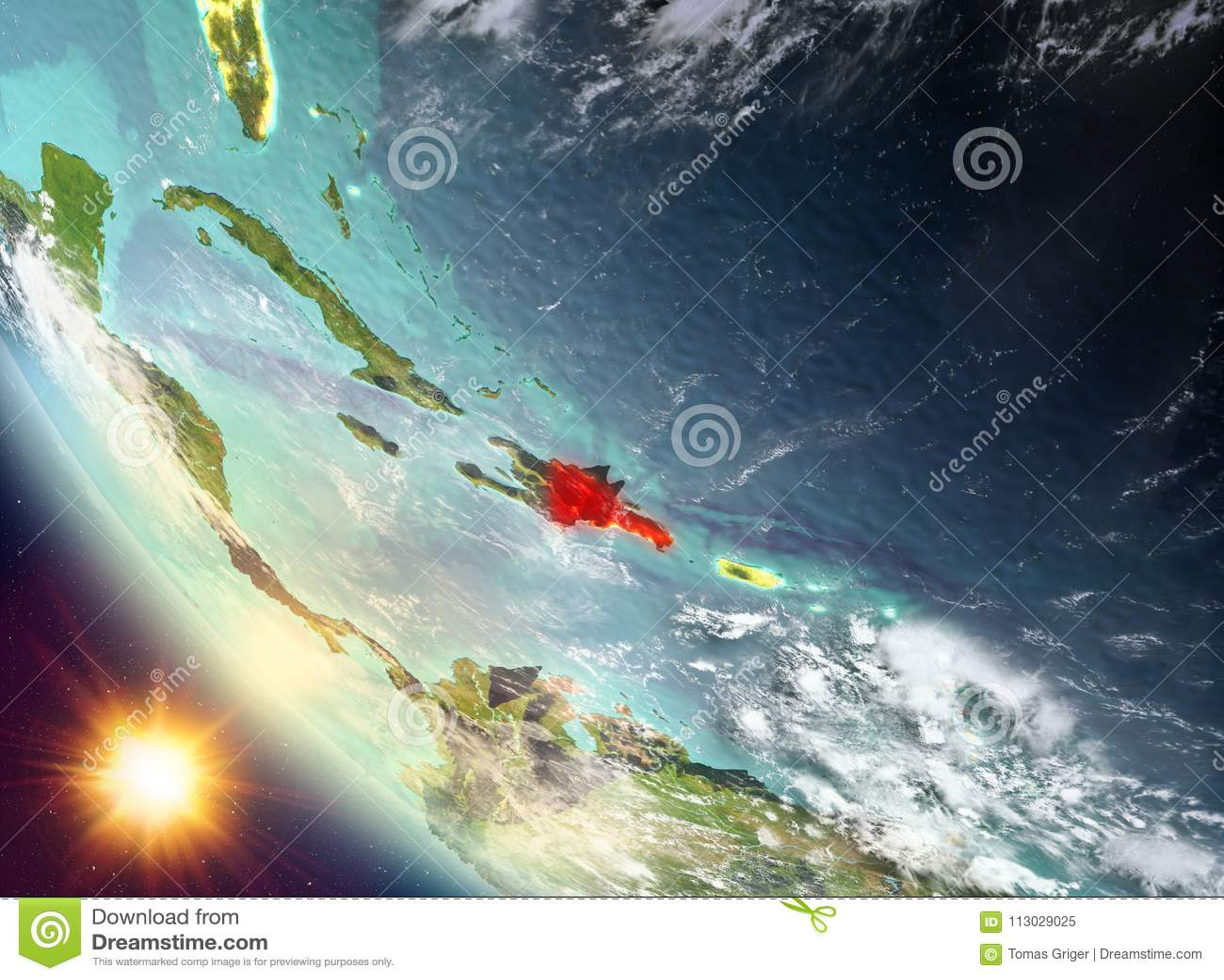 Puesta del sol sobre la República Dominicana en la tierra