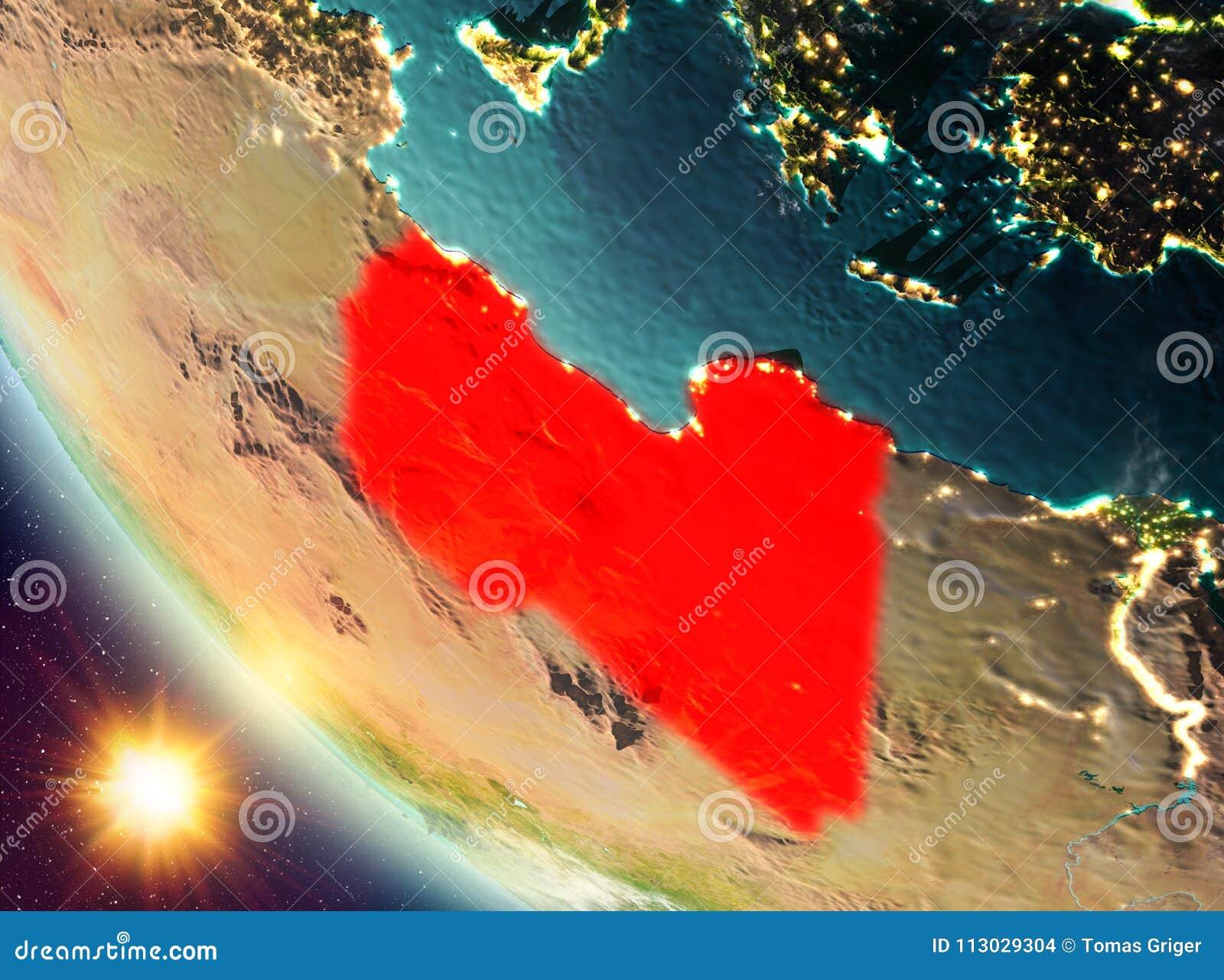 Puesta del sol sobre Libia en la tierra