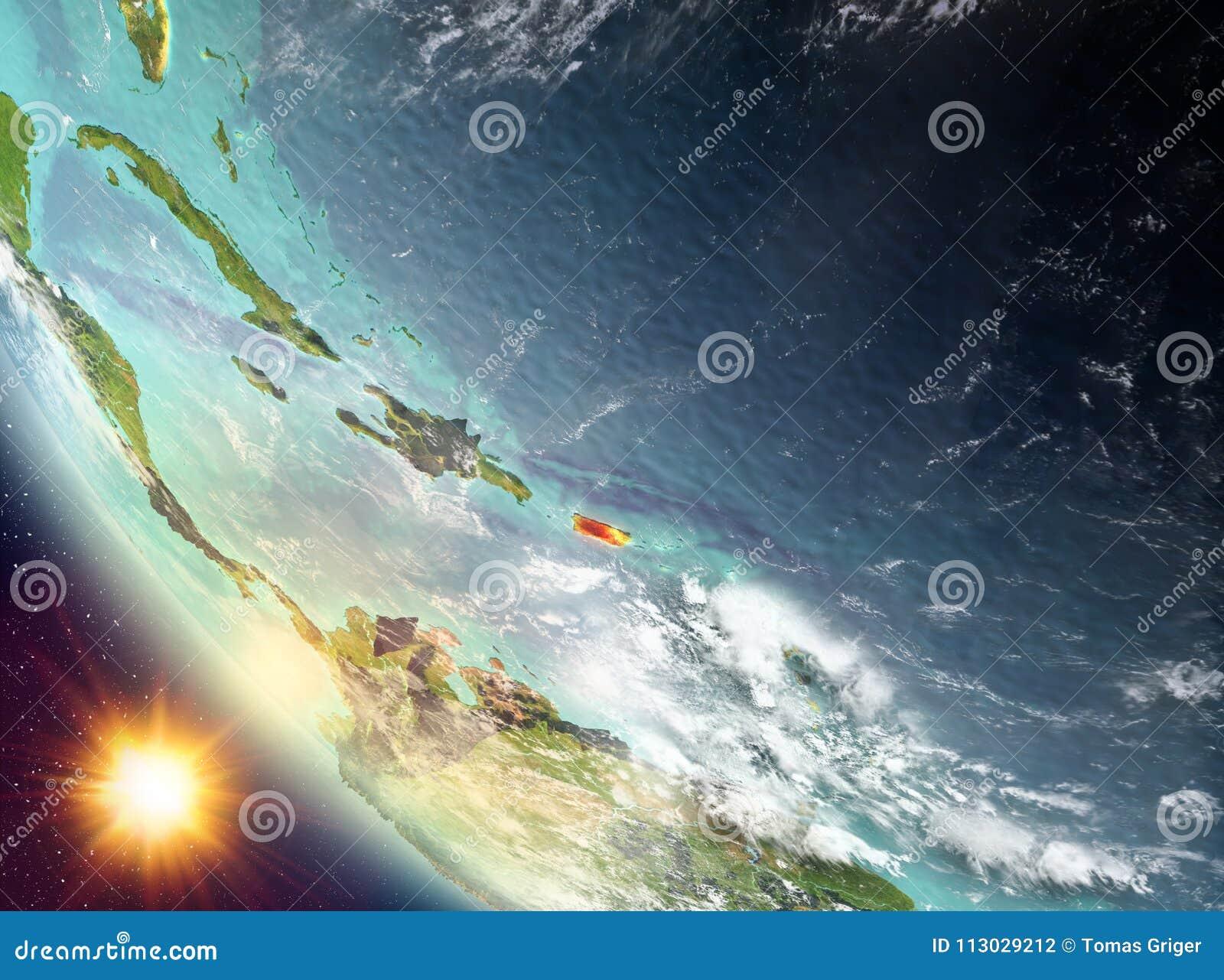 Puesta del sol sobre Puerto Rico en la tierra