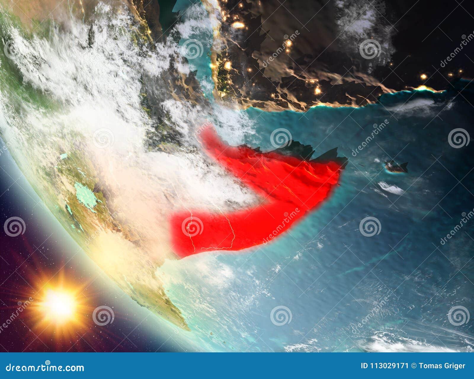 Puesta del sol sobre Somalia en la tierra