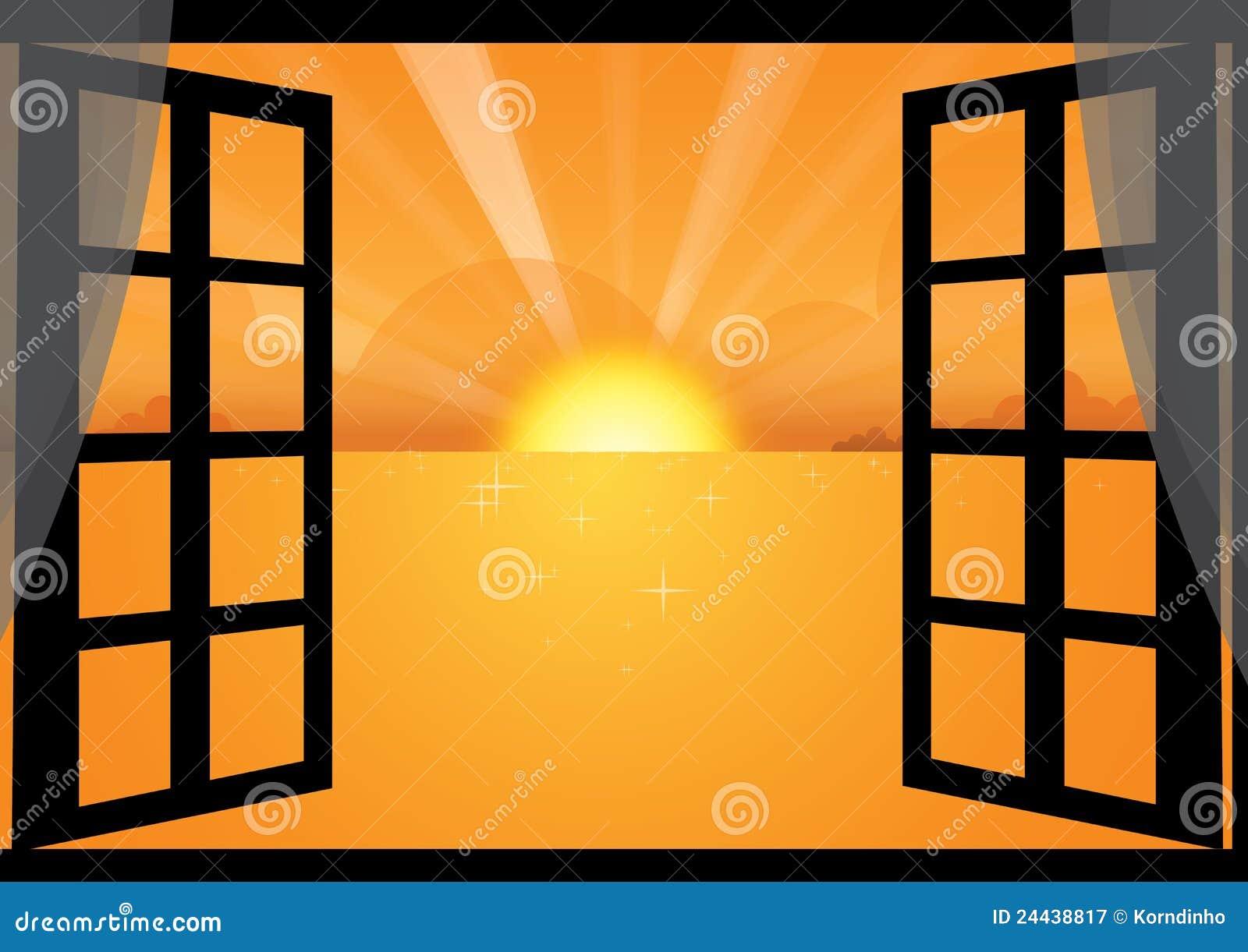 Puesta del sol a través de la ventana