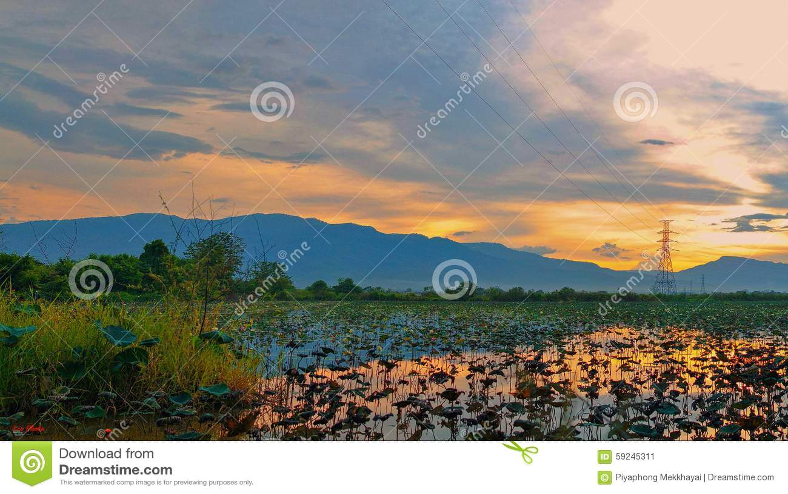 Download Puesta del sol y el lago imagen de archivo. Imagen de nubes - 59245311
