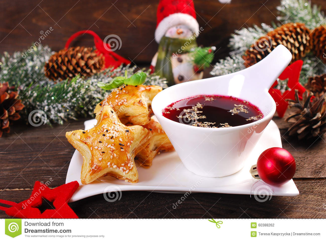 Puff pastries and red borscht for christmas eve