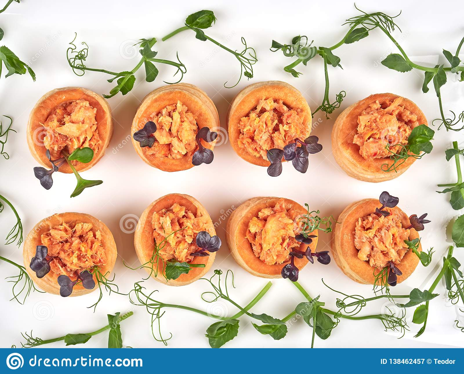 Salmon Filled Puff Pastries Or Vol Au Vent Stock Image Image Of