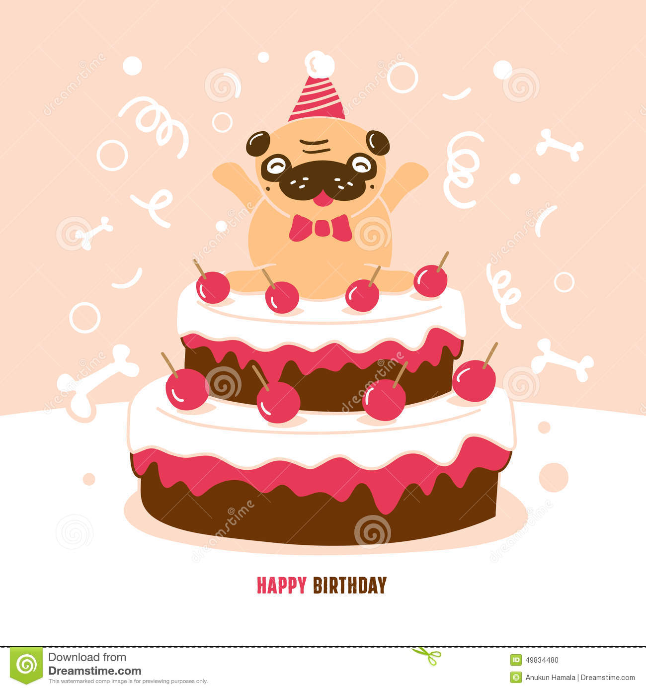 pug birthday card stock vector  image, Birthday card
