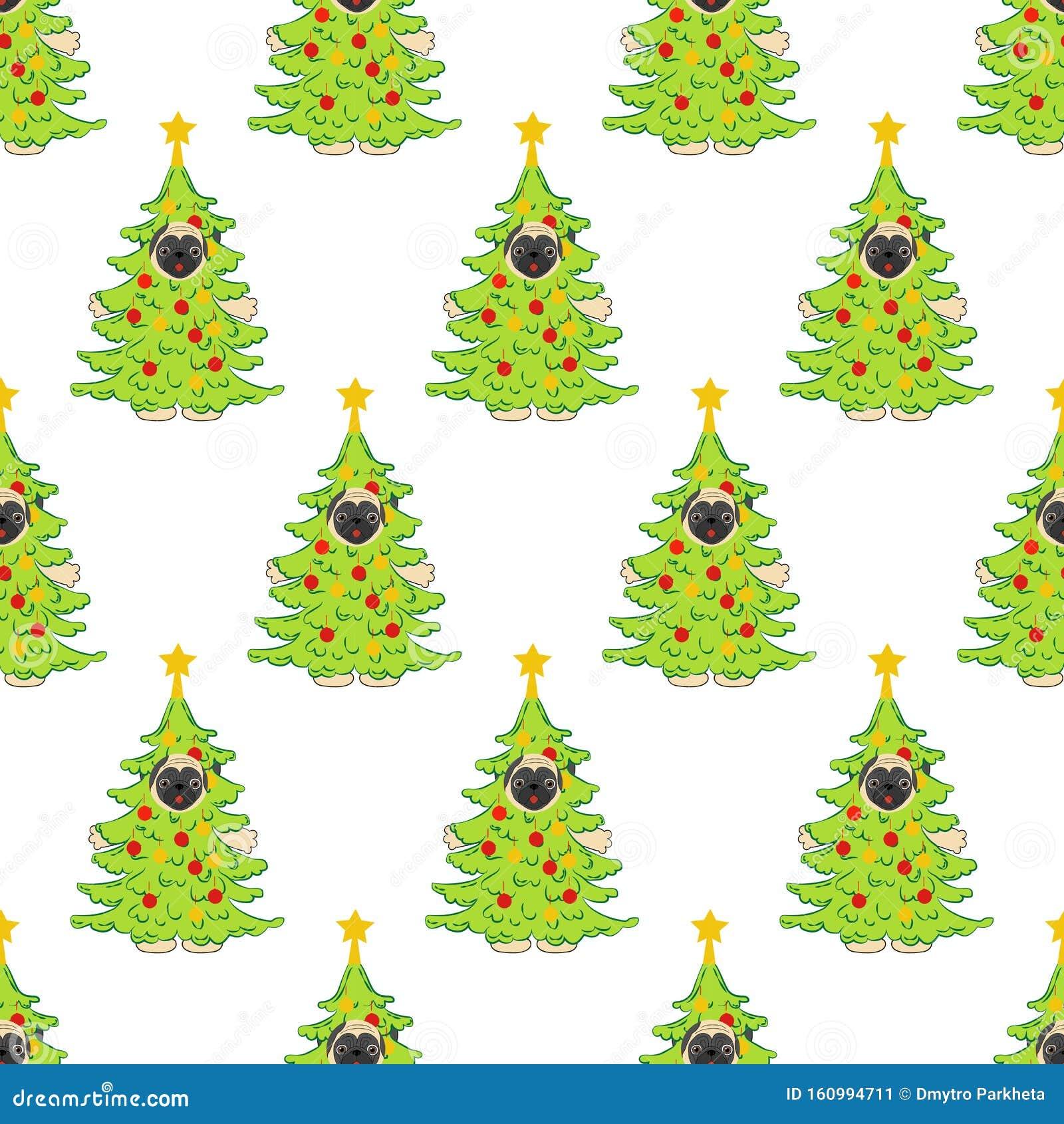 Pug In Christmas Tree Costume Seamless Pattern Stock ...