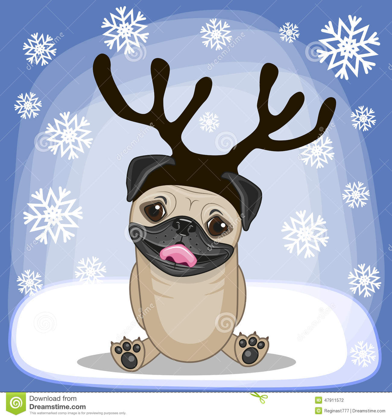 Pug Dog With Antlers Stock Vector. Illustration Of Graphic