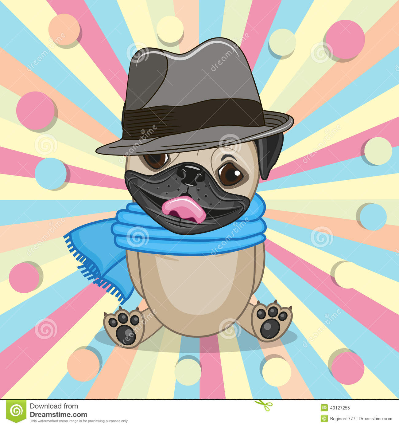 Pug Dog with hat stock vector. Illustration of drawing - 49127255 6007d3c0340