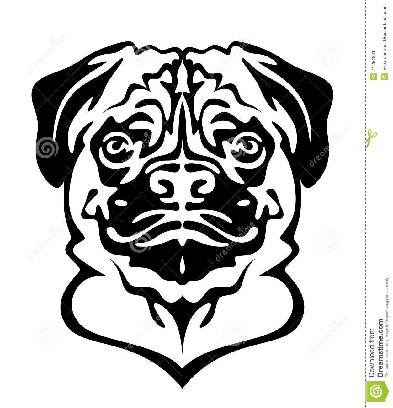 Pug Face Line Drawing : Pug dog stock vector illustration of canine guard