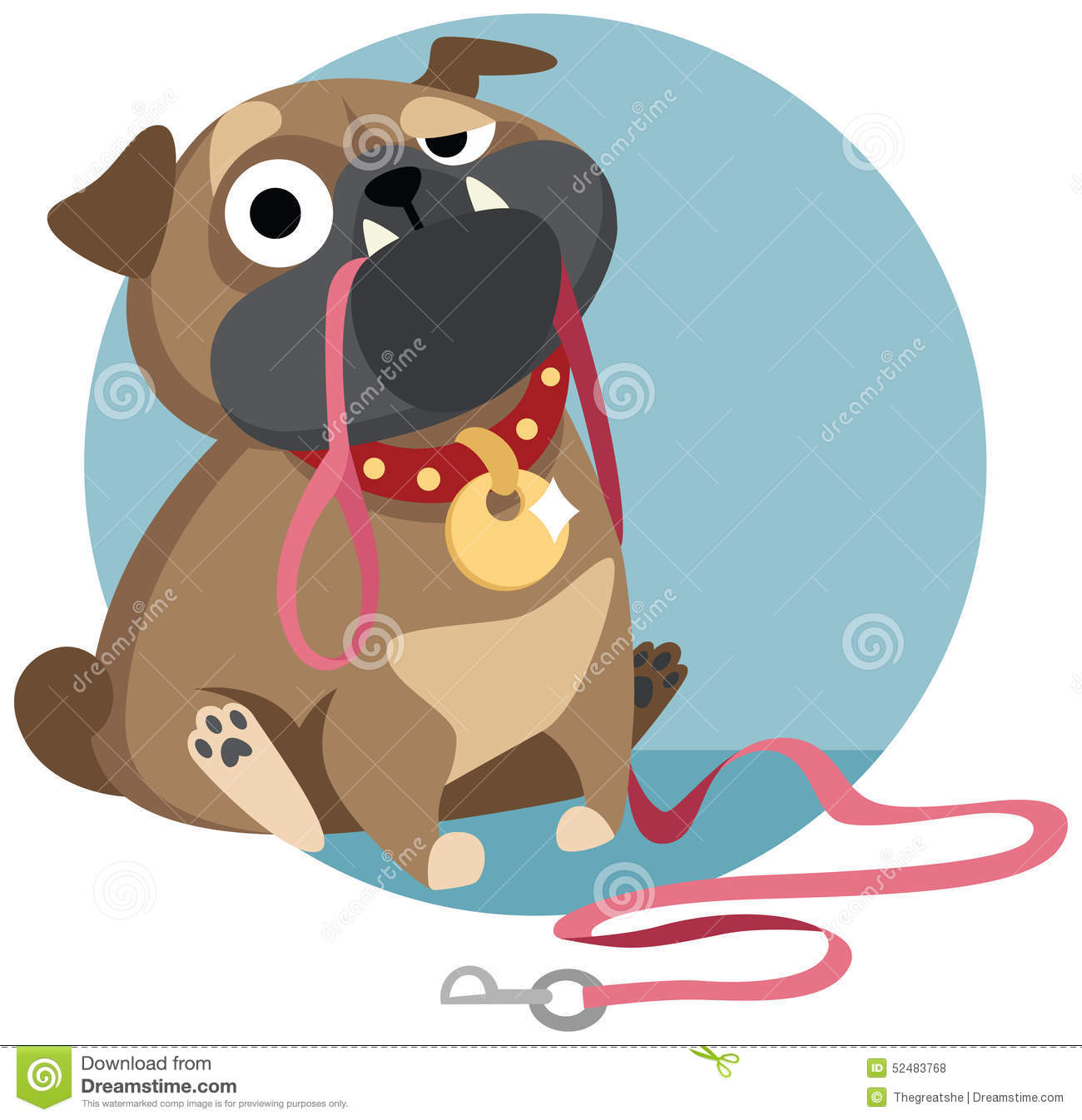 Cartoon Character Design Vector : Pug with dog lead asking for a walk stock vector image