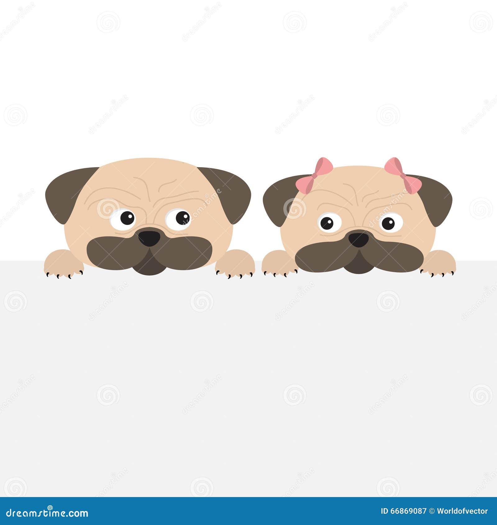 Pug Dog Mops Set. Boy And Girl. Cute Cartoon Character
