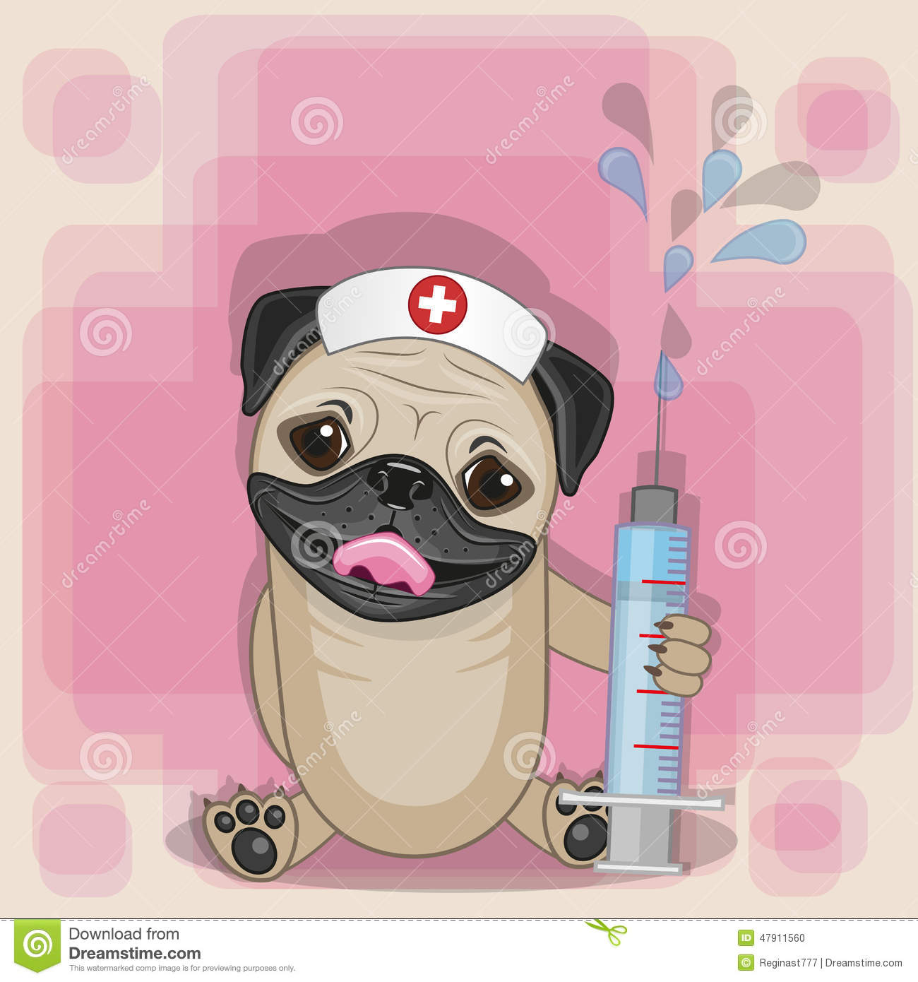 Pug Dog Nurse Stock Vector Image 47911560