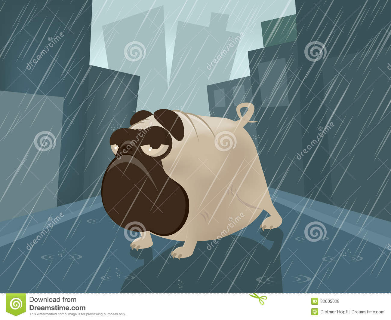 pug on a rainy day stock vector  illustration of clip