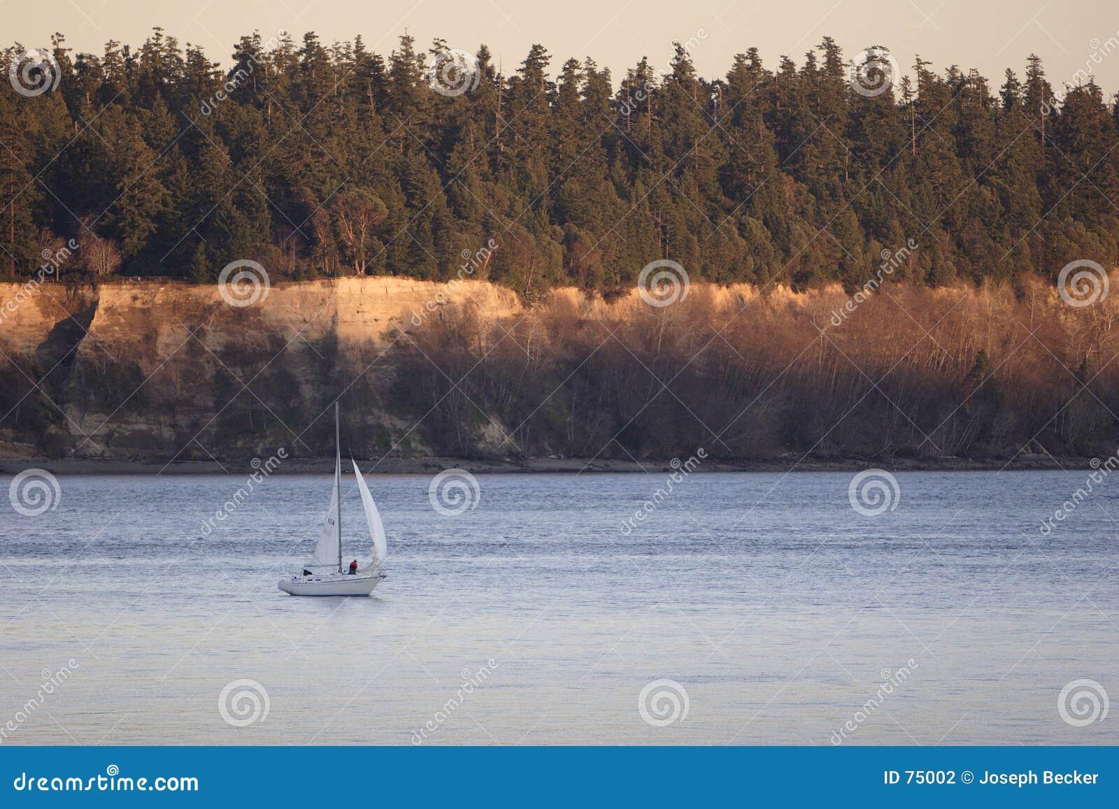 Puget航行声音日落