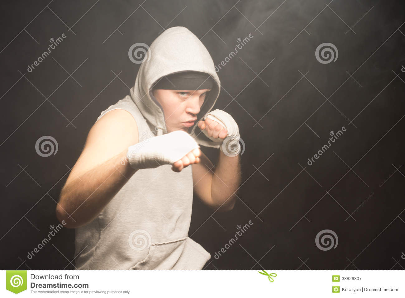 Pugnacious young boxer in a fight