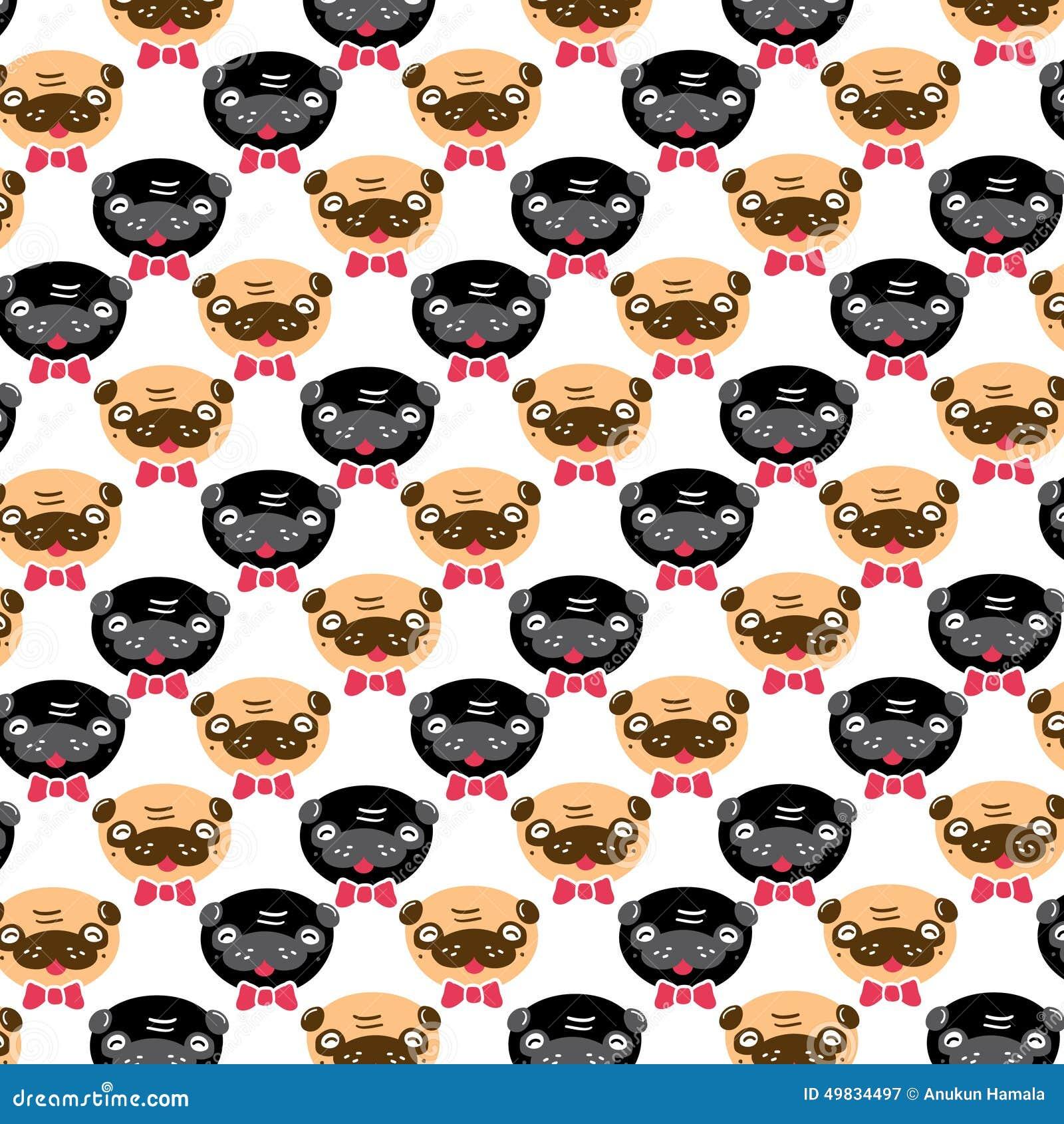 pugs pattern vector illustration card stock vector   image