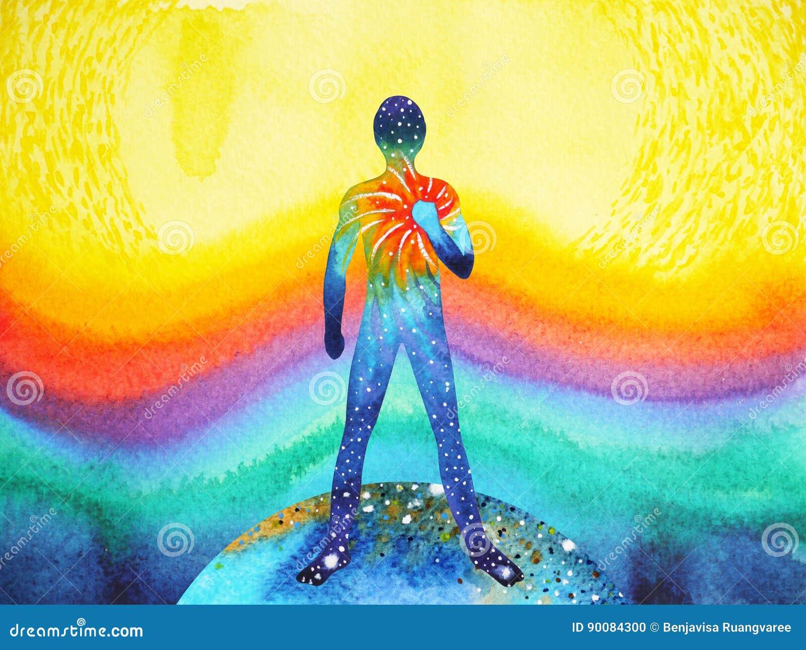Puissance d humain et d univers, peinture d aquarelle, reiki de chakra, univers du monde à l intérieur de votre esprit