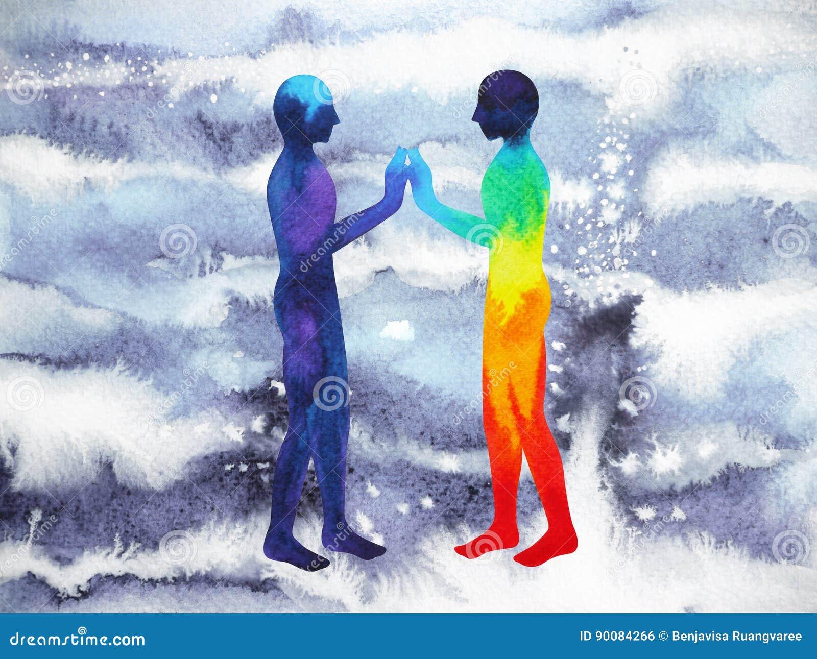 Puissance d humain et d univers, peinture d aquarelle, reiki de chakra, univers du monde de cerveau à l intérieur de votre esprit