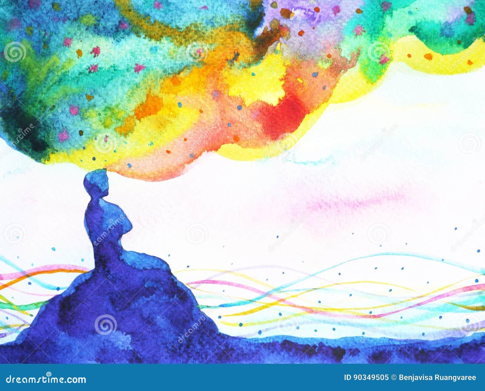 Puissance de la pensée, imagination abstraite, monde, univers à l intérieur de votre peinture d aquarelle d esprit