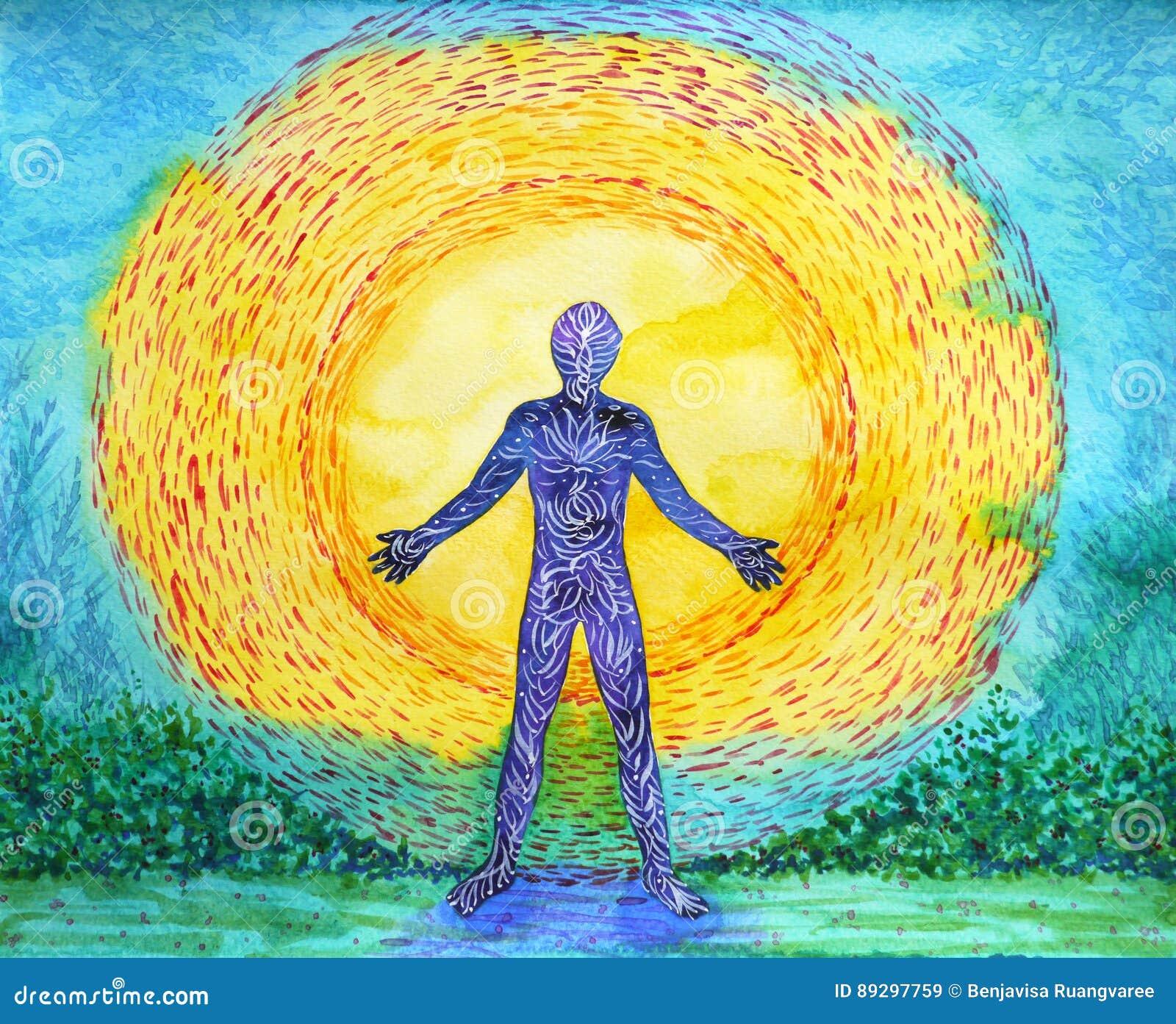 Puissance humaine et plus élevée, peinture abstraite d aquarelle, yoga du chakra 7