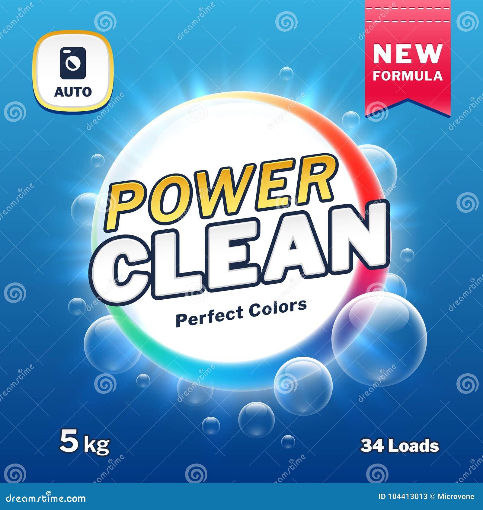 Puissance propre - emballage de détergent de savon et de blanchisserie Illustration de vecteur de label de produit de poudre à la