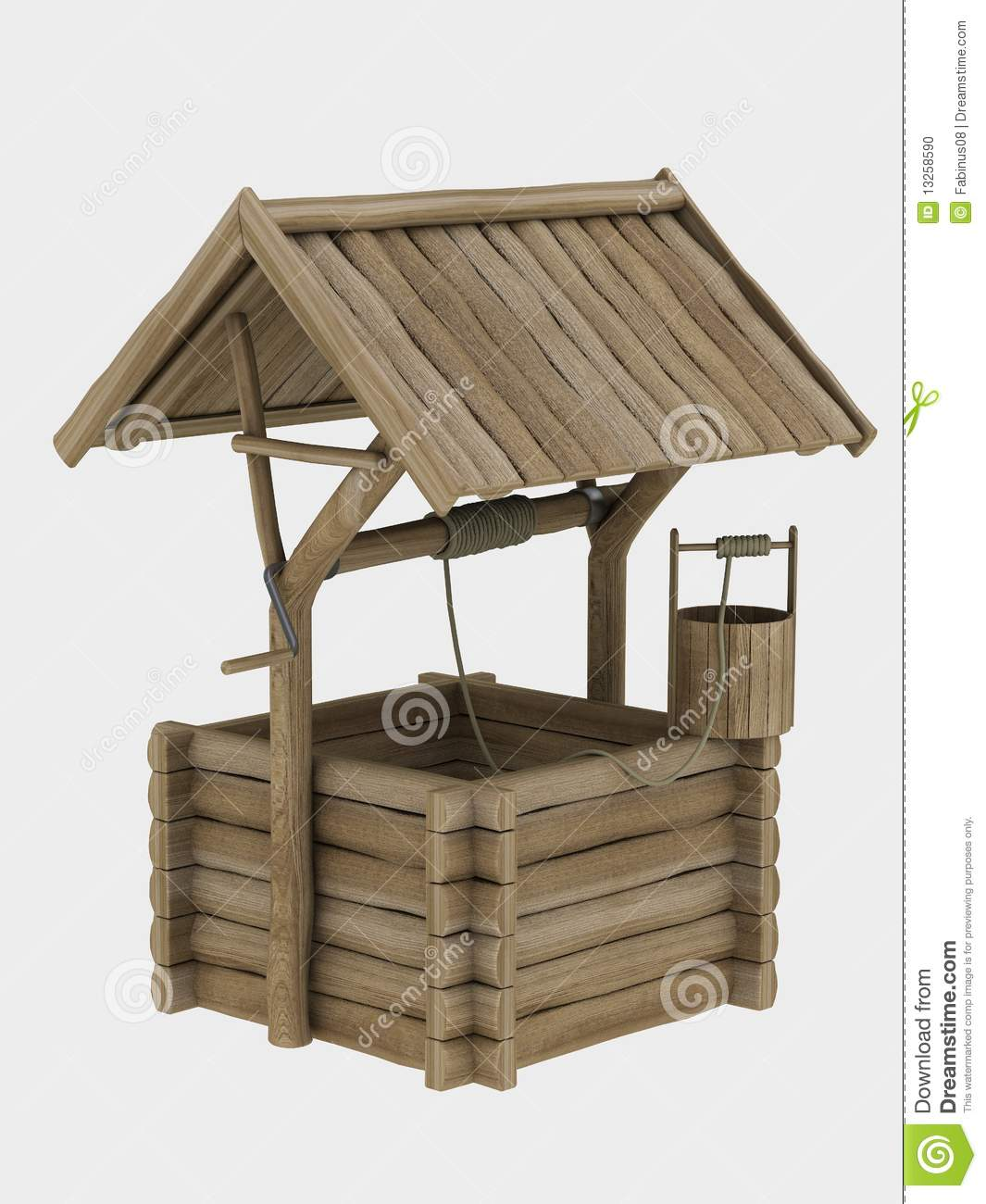 Puits en bois d coratif photo stock image 13258590 for Puits decoratif jardin