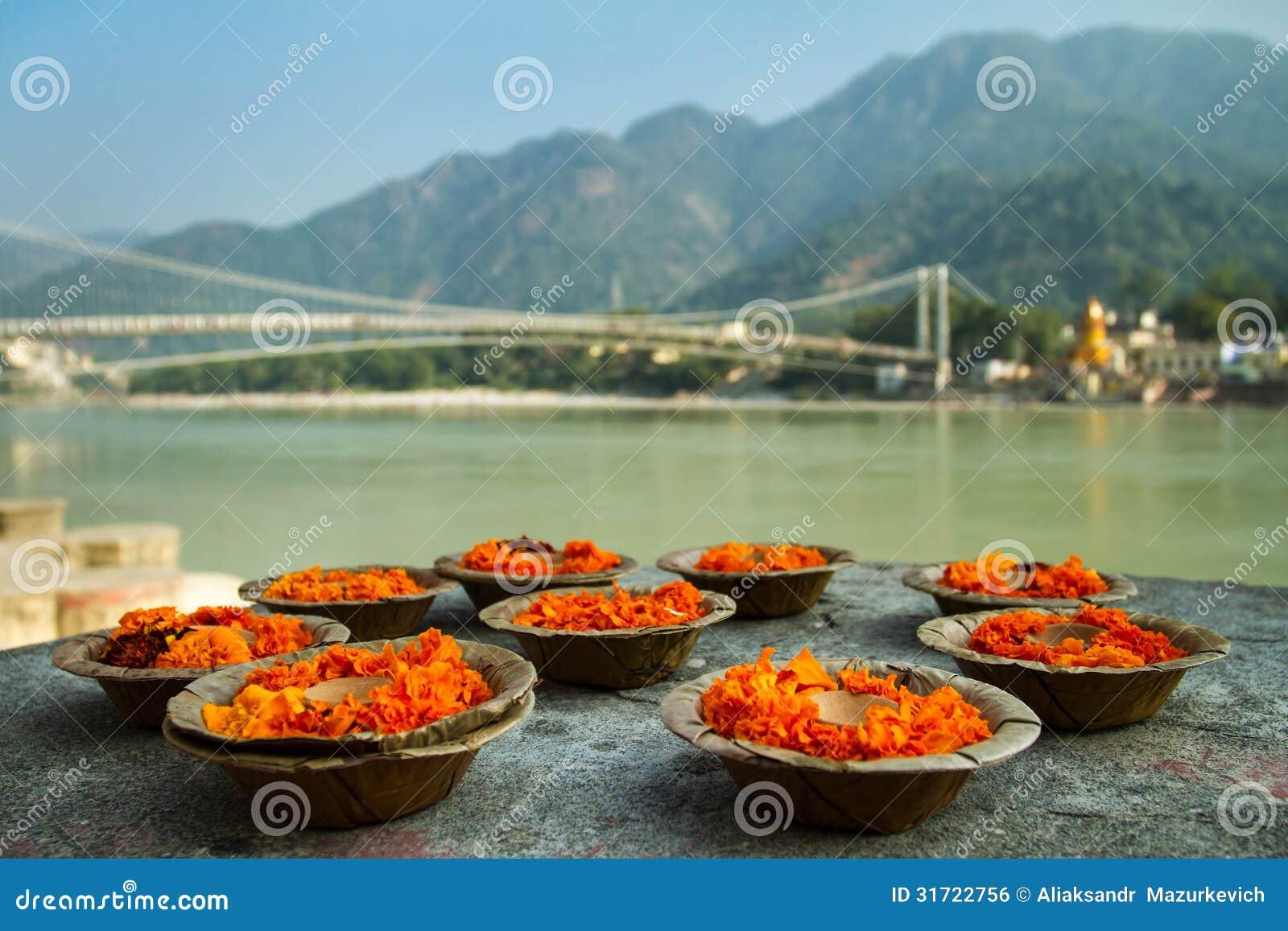 Puja fleurit l offre à la banque du Gange