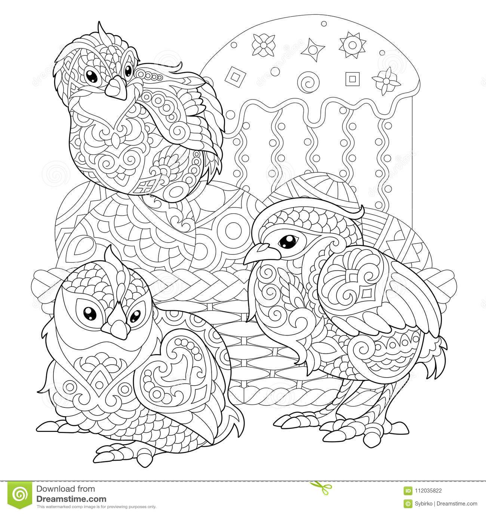 Pulcini Di Zentangle Pasqua Sulle Uova Illustrazione Vettoriale