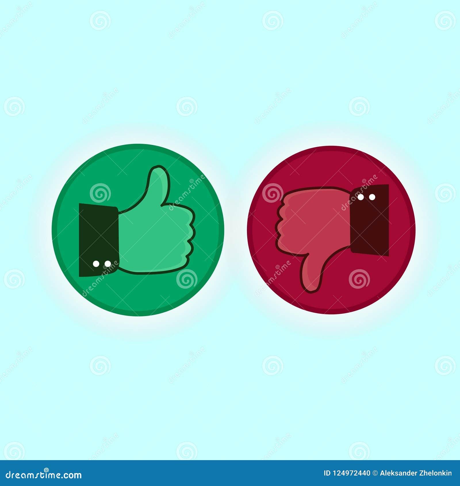 Pulgar arriba y abajo de iconos rojos y verdes Ilustración del vector Tengo gusto y tengo aversión alrededor de los botones en pl