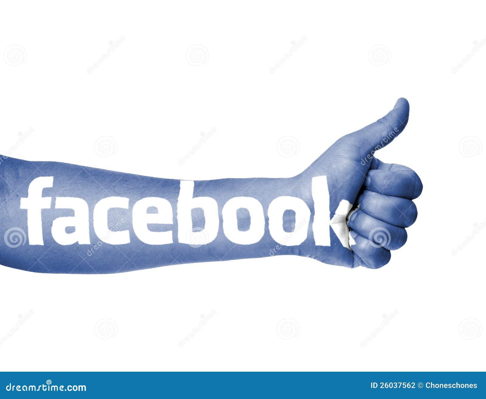 Pulgar azul del facebook para arriba