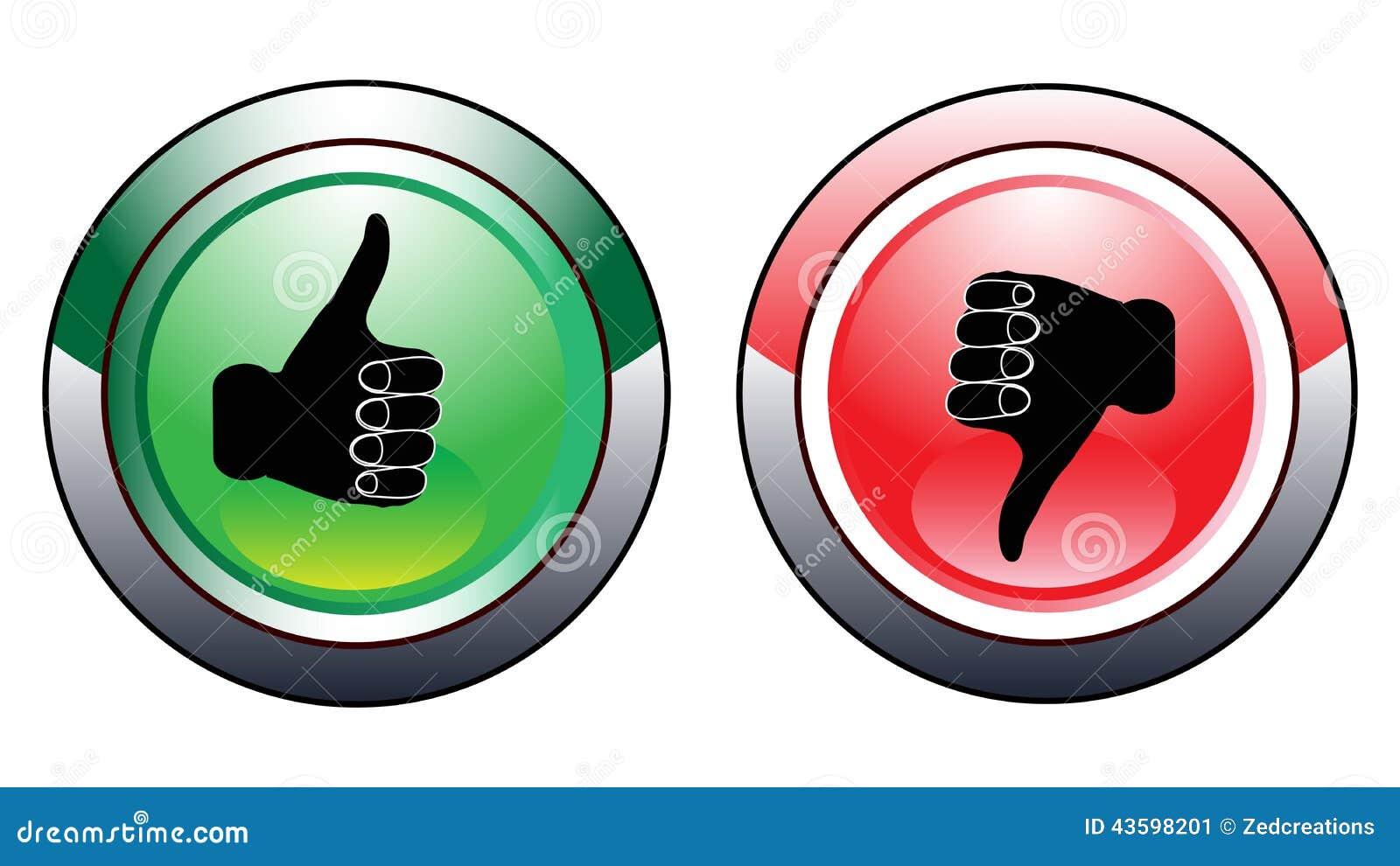 Pulgar para arriba abajo de los botones