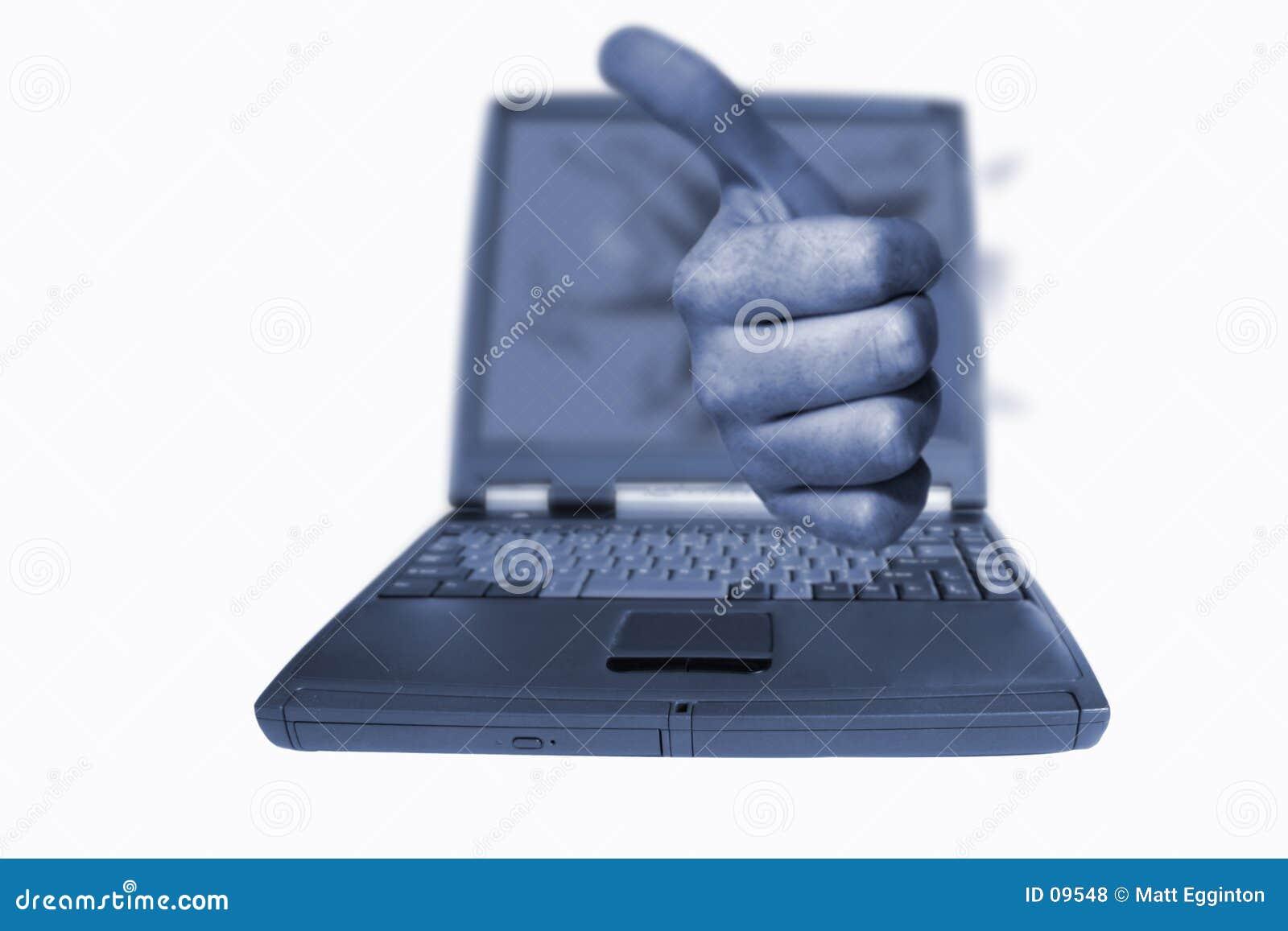 Pulgares de la computadora portátil para arriba