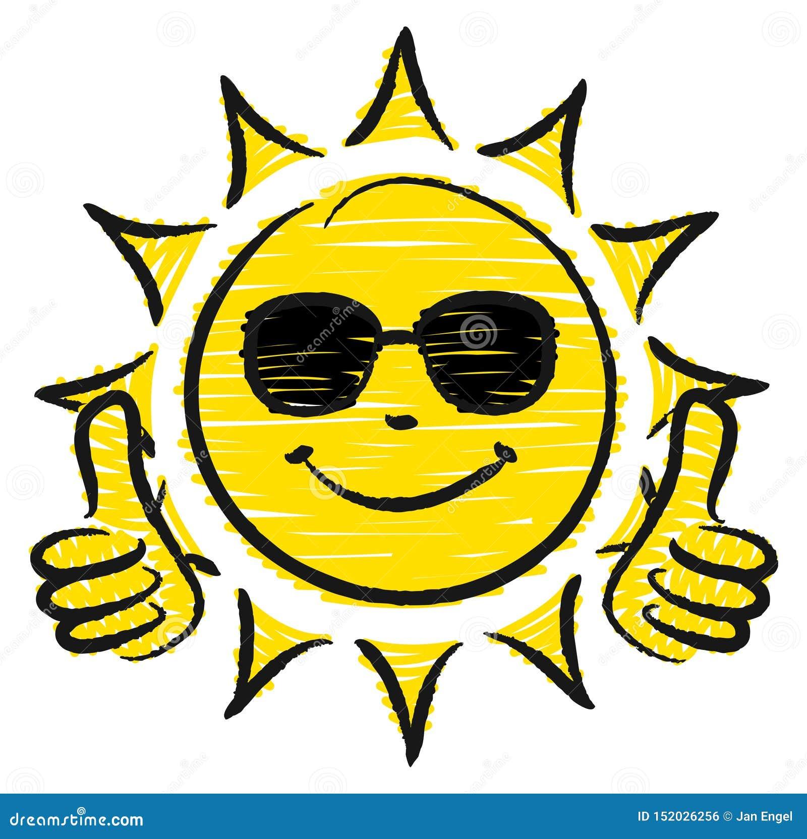 Pulgares dibujados mano de Sun dos para arriba con las gafas de sol amarillas y negras